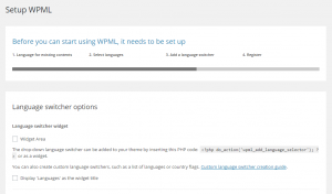 Habilitando o widget seletor de idiomas