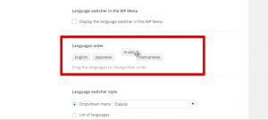 Interfaz de Arrastrar y soltar para el orden de idiomas