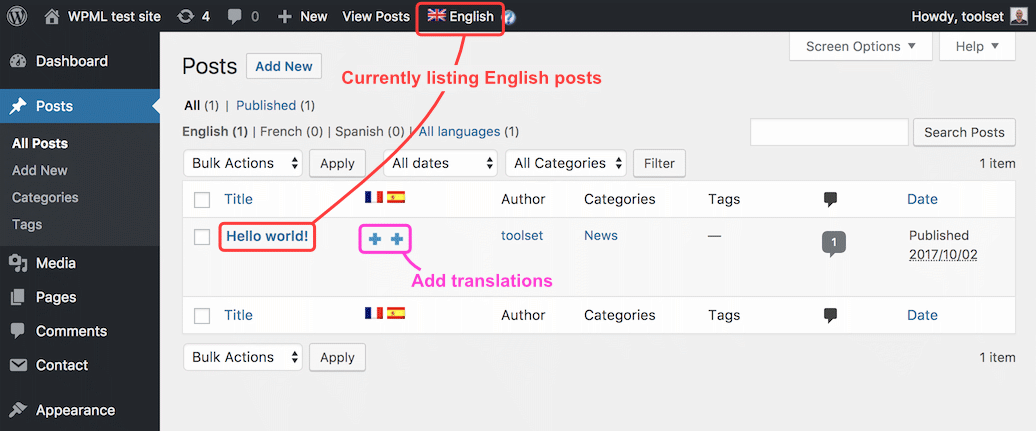 Starting a post translation