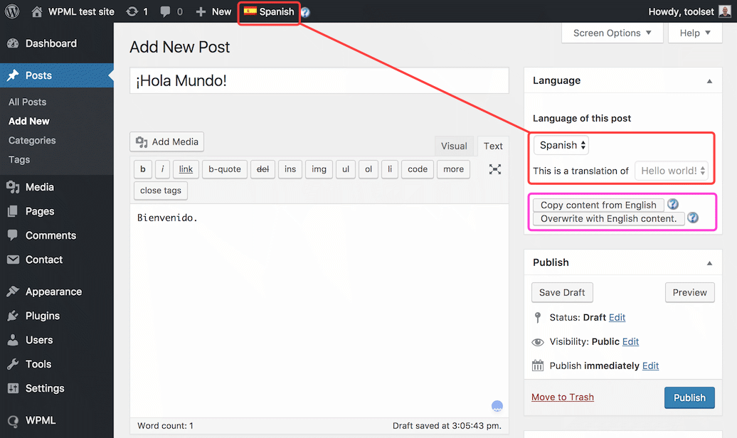 Translating your post with WPML