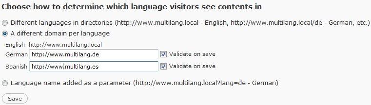 Language Negotiation in WPML