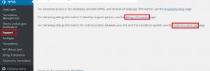 Página de suporte do WPML