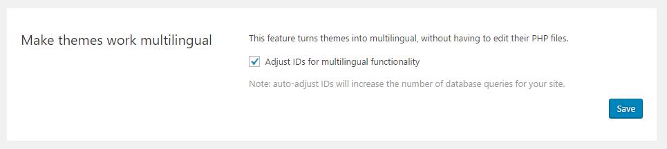 Rettifica ID per la funzionalità multilingue