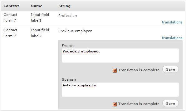 WPML's string translation interface