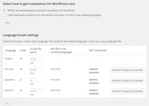 Download automático das traduções do WordPress