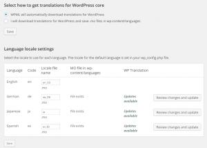 Téléchargement automatique des traductions de WordPress
