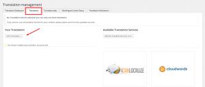 Scheda delle impostazioni dei traduttori