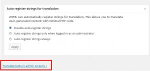 Opção Traduzir textos das telas administrativas