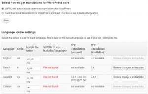 Descarga automática de las traducciones de WordPress