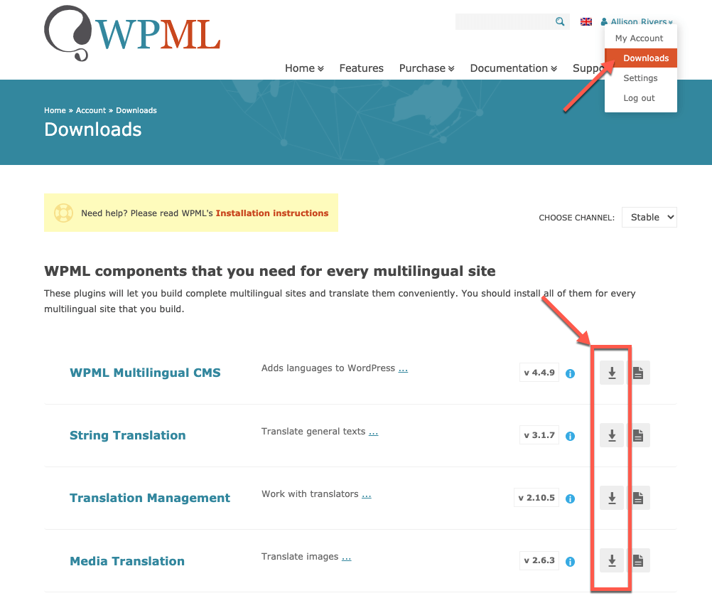 Download dei componenti di WPML
