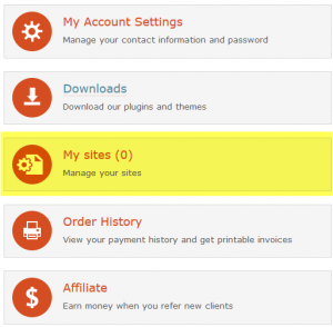 """""""Meus sites"""" em sua conta no wpml.org"""