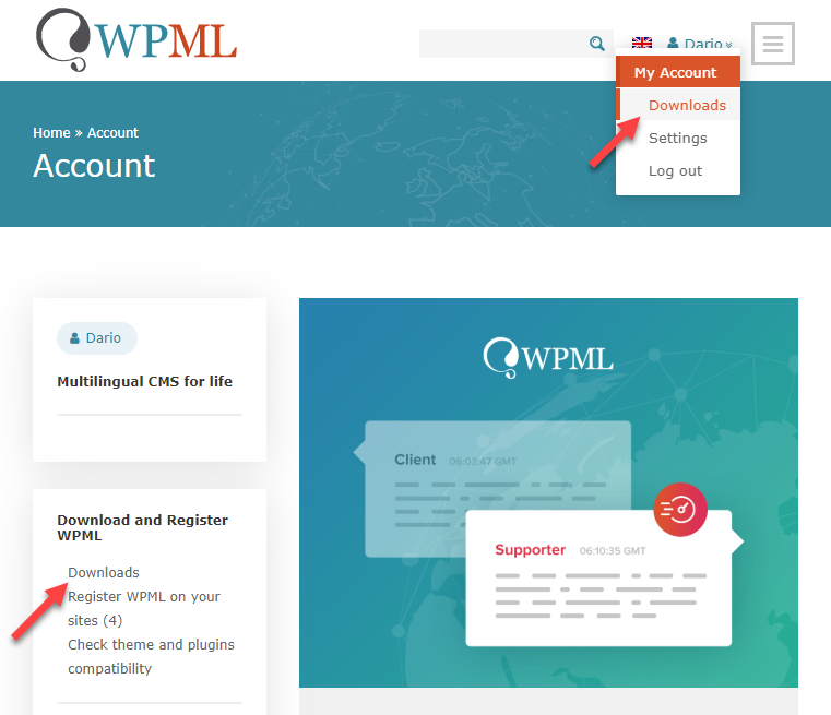 Enlaces de descarga de WPML