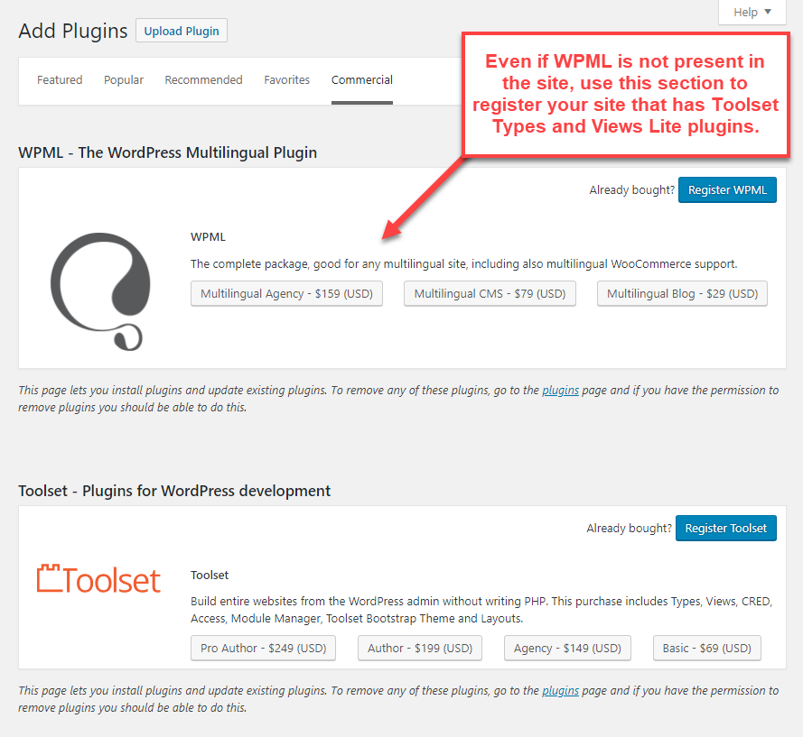 Registro de los plugins Toolset Types y Views Lite a través de la sección de WPML