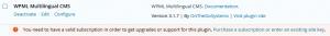 Mensagem de registro na página de administrador de plugins