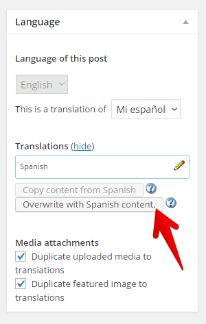 Convert a translation to a duplicate.