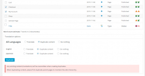 Duplicating content via the Translation Dashboard