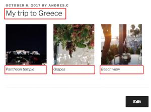 As imagens são exibidas usando o shortcode de galeria e não são parte do conteúdo da página
