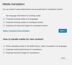 Tela de administração do Media Translation