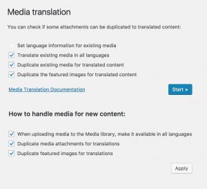 Écran d'administration de Traduction des médias