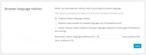 Browser language redirect