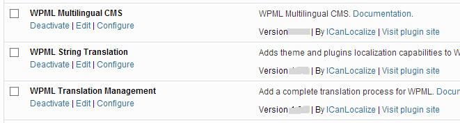 Erforderliche WPML Komponenten