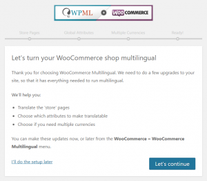 Page d'accueil de l'assistant de configuration de WooCommerce multilingue