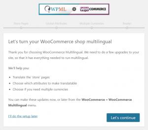 Page de démarrage de l'assistant d'installation de WooCommerce Multilingue