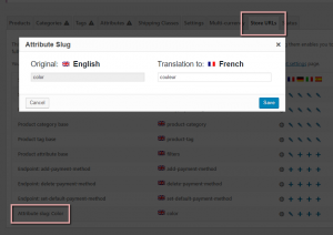 Traduction des lignes-blocs d'attributs