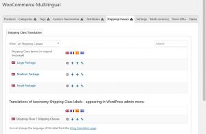 Page Classes d'expédition dans WooCommerce Multilingue