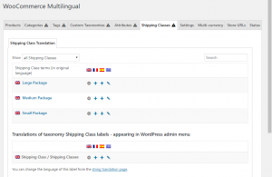 Page Classes d'expédition dans WooCommerce Multilingue