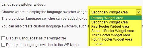 Widget de sélecteur de langue