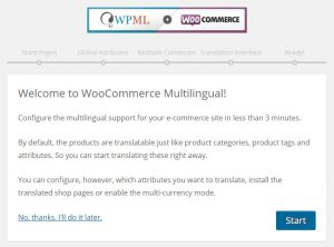 WooCommerce Multilingual安装向导的起始页