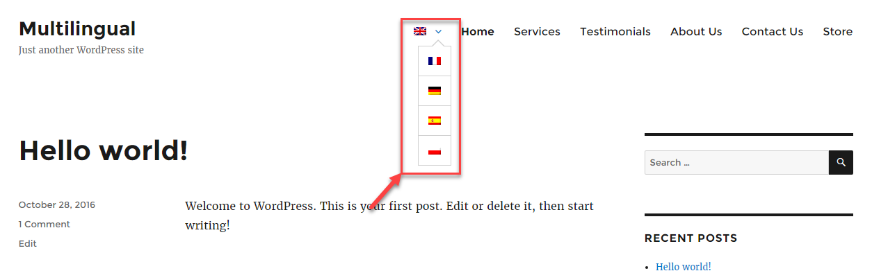 محوّل اللغة على شكل قائمة بعد تطبيق CSS المخصص