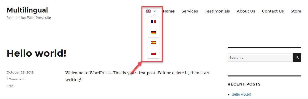 Переключатель языка в меню после применения пользовательского CSS