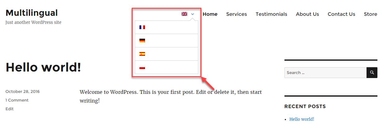 Intercambiador de idiomas de banderas solamente con el tema Twenty Sixteen