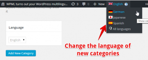 Change the language of new categories