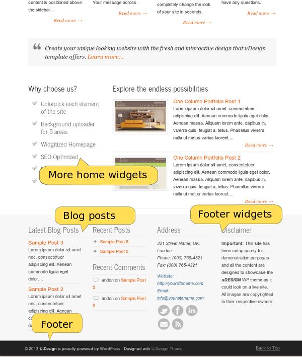 U Design home page, bottom