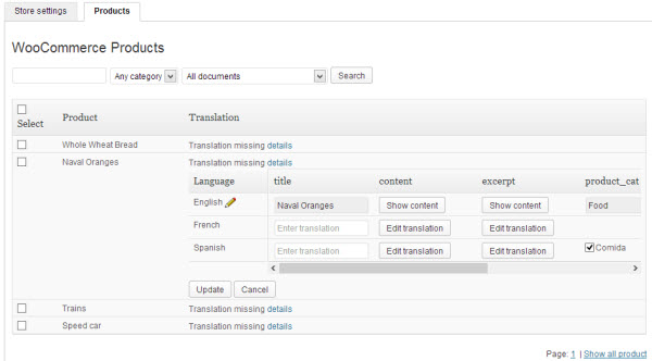 WooCommerce Multilingual products table (click to zoom)