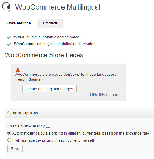 WooCommerce Multilingual admin page