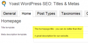 SEO attributes for the homepage