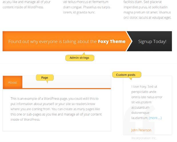 Foxy home page, bottom