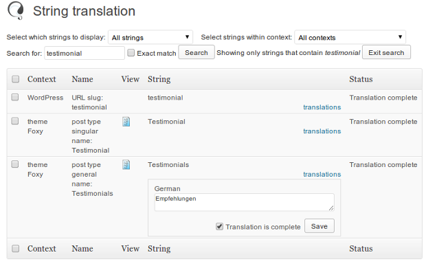 Translatin the custom post type name