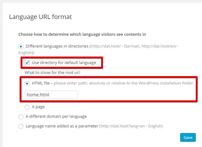 Diretório para o idioma padrão