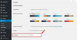 Selecting a custom WordPress administration language