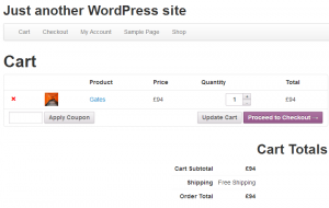 WooCommerce cart page