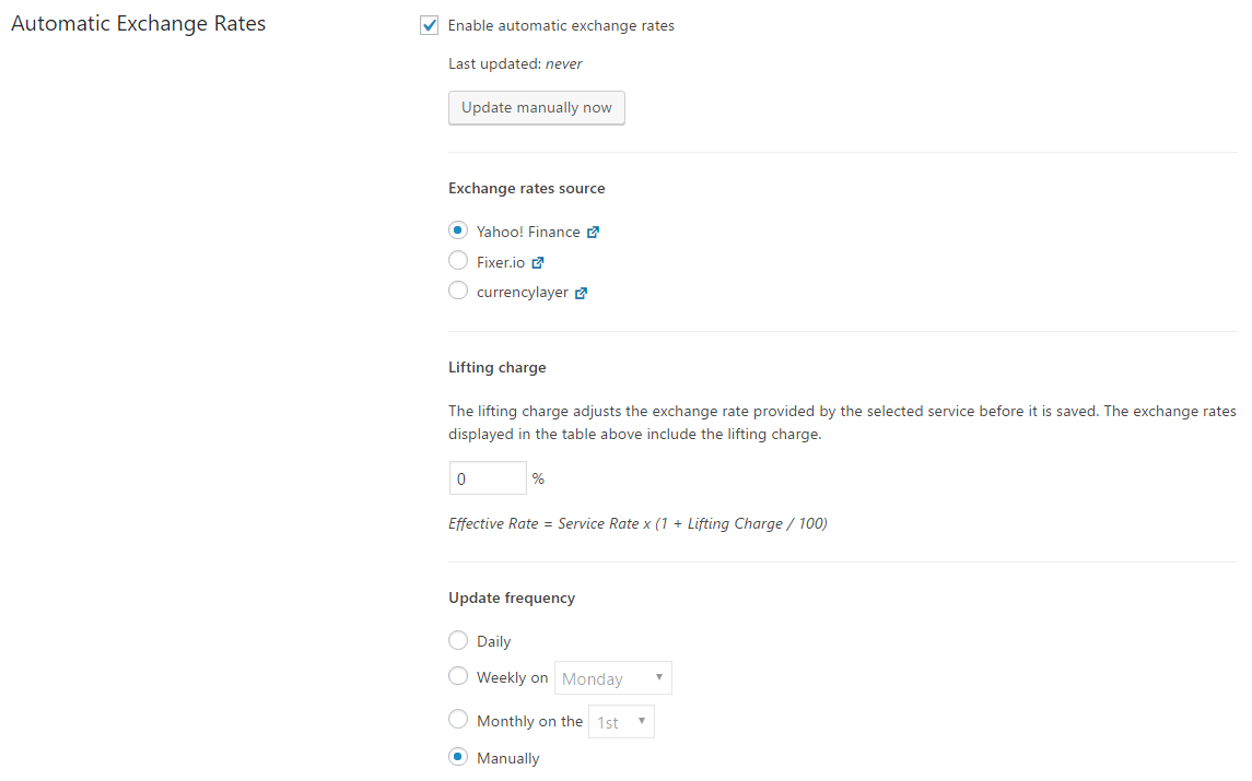 Settings for the automatic exchange rates