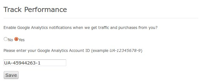 Performance tracking in affiliate page