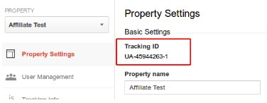 Tracking ID for your GA account