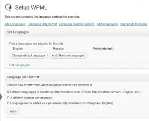 choosing language format