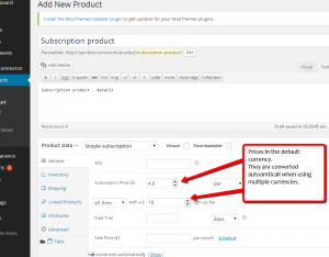 Adding subscription prices in the default currency for the subscription product in the default language